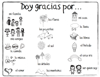 Spanish Thanksgiving Vocabulary coloing page