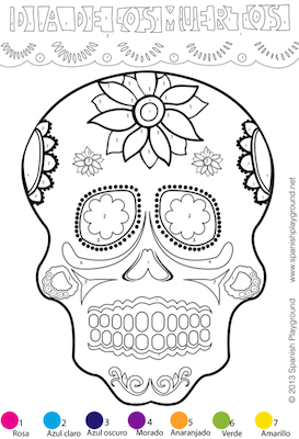 spanish color by number simple skull