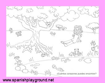 Spanish Valentine Hidden Hearts Activity