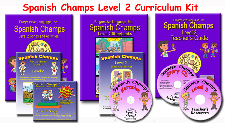 The Spanish Champs Level 2 curriculum for teaching Spanish for kids.