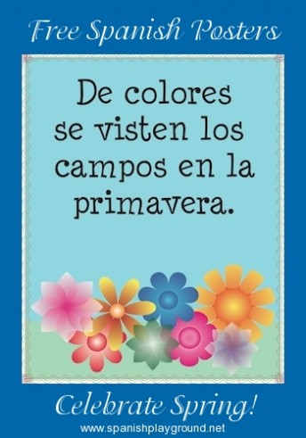Printable posters in Spanish to celebrate spring with kids.