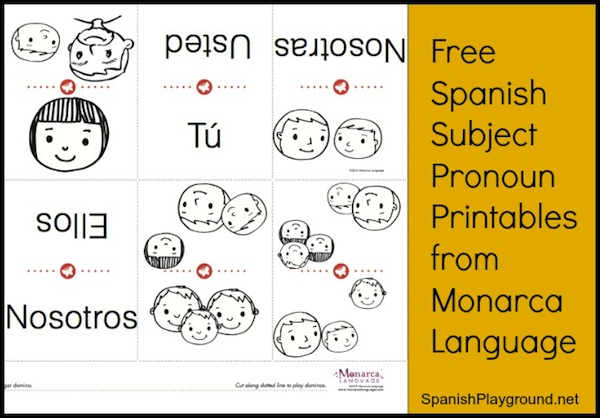 Spanish Subject Pronouns: Free Printable from Monarca - Spanish ...