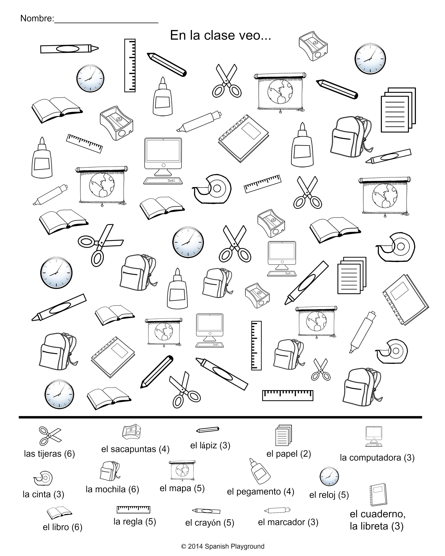 Spanish classroom vocabulary picture search spanish for 10 objetos en ingles del salon de clases