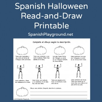 A Spanish Halloween activity where kids draw based on a description they read.