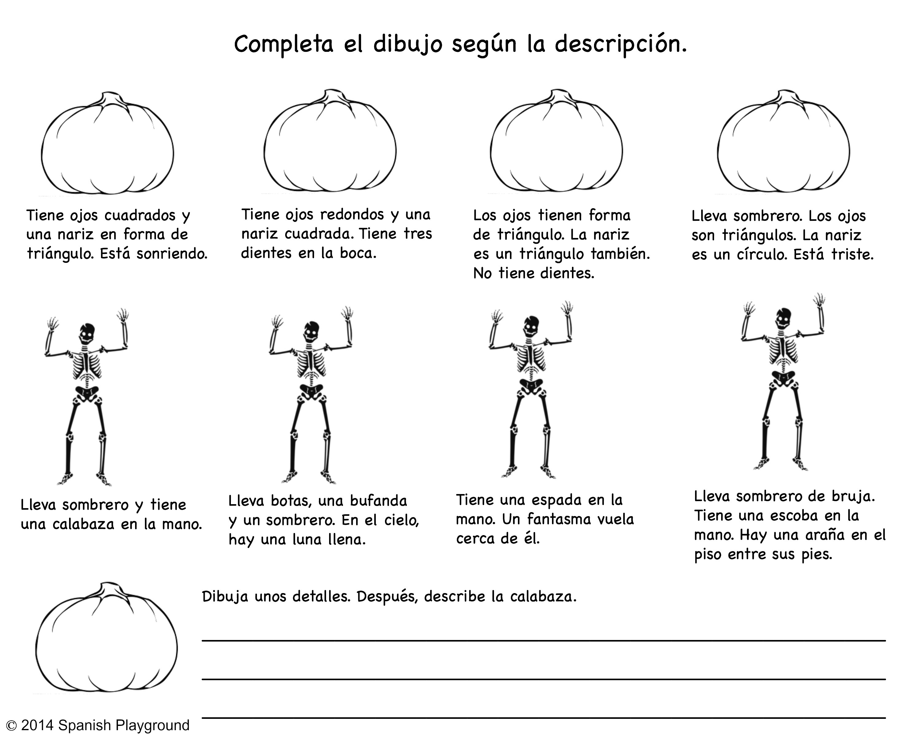 image regarding Halloween Printable identified as Spanish Halloween Read through-and-Attract Printable - Spanish Playground