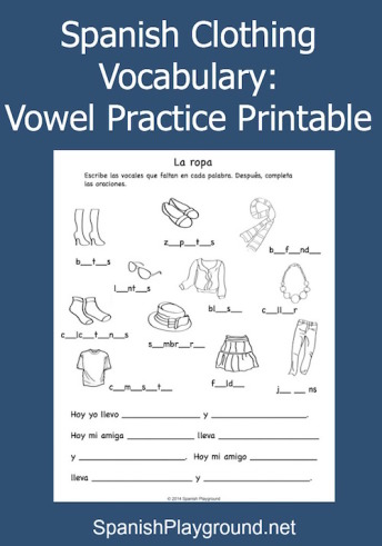 Spanish clothing vocabulary practice in a printable activity.