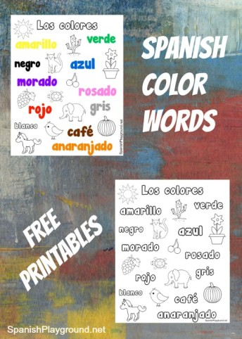 Printable pages for kids to practice Spanish color words.
