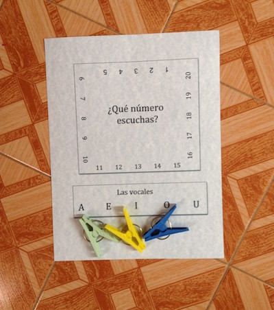 Printable Spanish clothespin activity