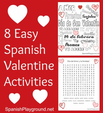 Spanish Valentine activities that are easy to prepare and fun for kids.