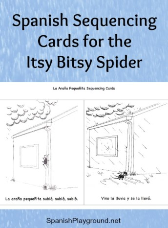 Spanish sequencing cards for the Itsy Bitsy Spider to use with language learners.