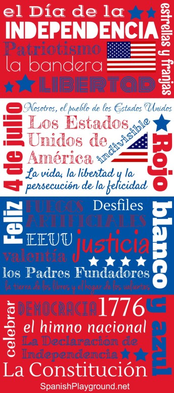 Spanish phrases for Independence Day on a printable poster.