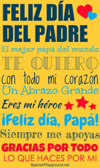Día del padre printable poster for children learning Spanish.
