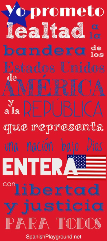 Pledge of allegiance in Spanish for kids.