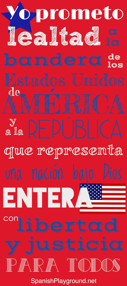 Pledge of allegiance in Spanish for kids.
