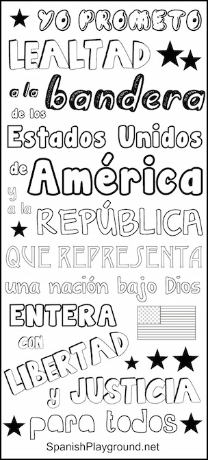 Pledge of Allegiance in Spanish for kids to color.
