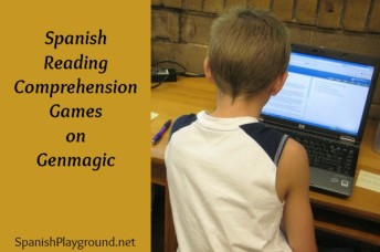 Spanish reading comprehension games for kids to match sentences to pictures.