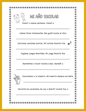 A Spanish activity for the end of school.