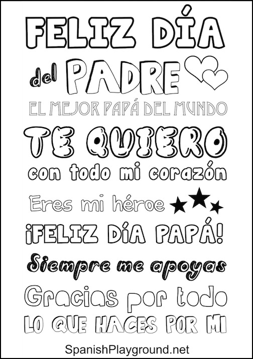 Spanish Fathers Day printable poster