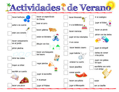 Number Names Worksheets list of opposites for preschoolers : Spanish Summer Activities - Spanish Playground